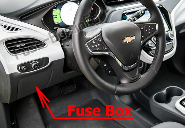The location of the fuses in the passenger compartment: Chevrolet Bolt EV (2016-2020..)