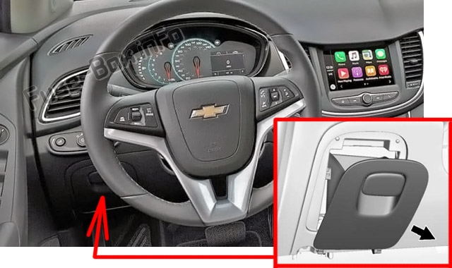 The location of the fuses in the passenger compartment: Chevrolet Trax (2018-2020..)