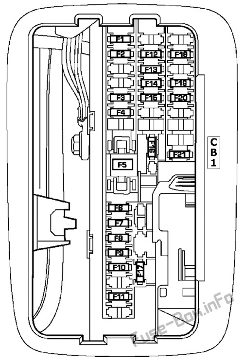 Interior fuse box diagram: Dodge Durango (2004, 2005)