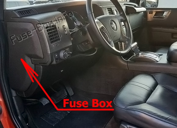 The location of the fuses in the passenger compartment: Hummer H2 (2008-2010)