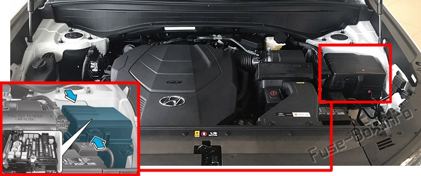 The location of the fuses in the engine compartment: Hyundai Palisade (2020-...)