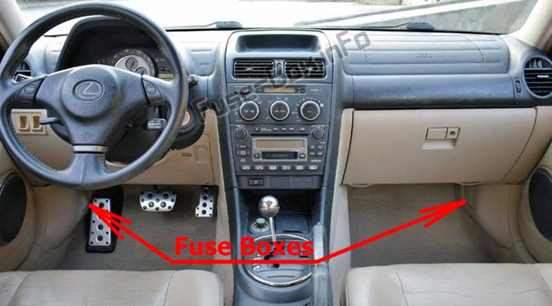 The location of the fuses in the passenger compartment: Lexus IS300 (XE10; 2001-2005)