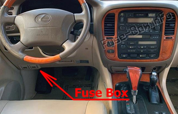 The location of the fuses in the passenger compartment: Lexus LX470 (J100; 1998-2002)