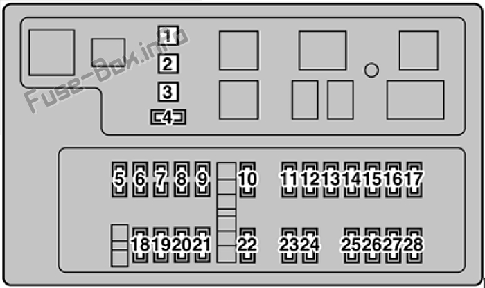 Under-hood fuse box diagram: Lexus LX470 (2003, 2004)