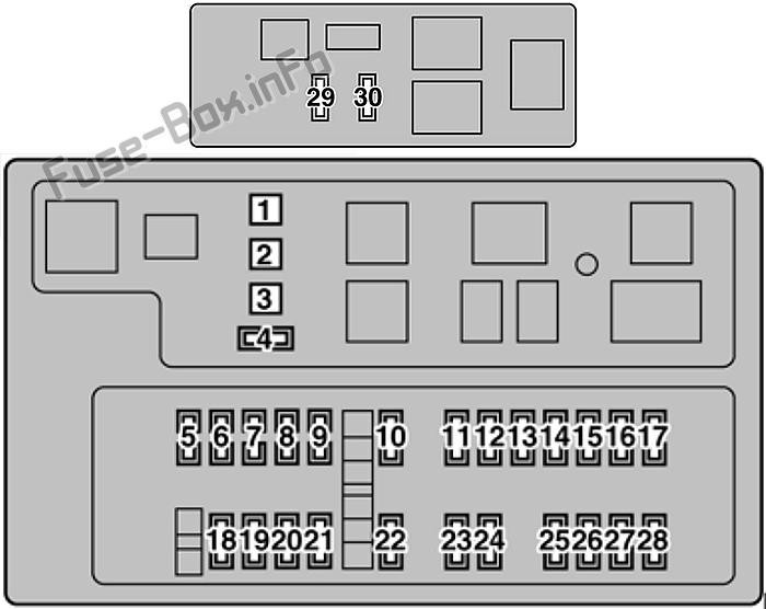 Diagrama de caja de fusibles debajo del capó: Lexus LX470 (2006, 2007)