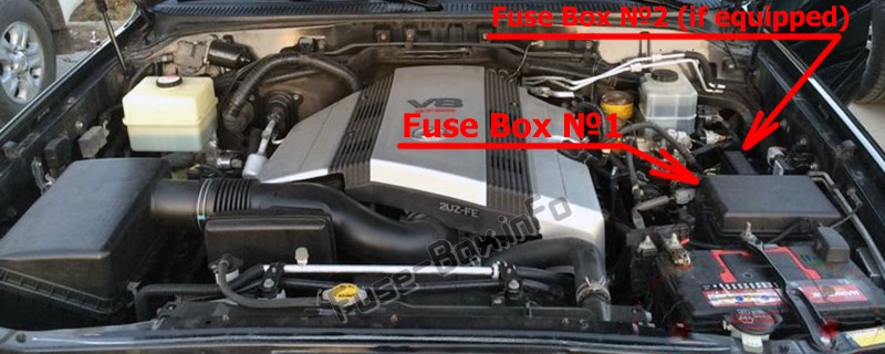 The location of the fuses in the engine compartment: Lexus LX470 (J100; 2003-2007)