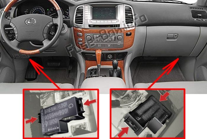 The location of the fuses in the passenger compartment: Lexus LX470 (J100; 2003-2007)