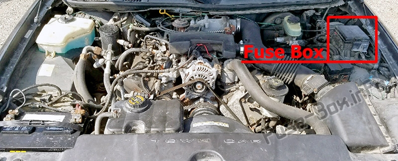 The location of the fuses in the engine compartment: Lincoln Town Car (1998-2002)