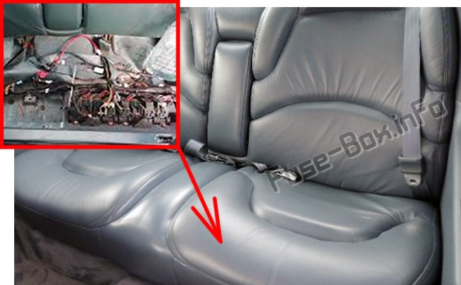 The location of the fuses under the rear seat: Buick Riviera (1994-1999)