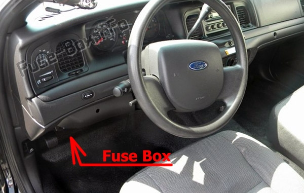 The location of the fuses in the passenger compartment: Ford Crown Victoria (2003-2011)