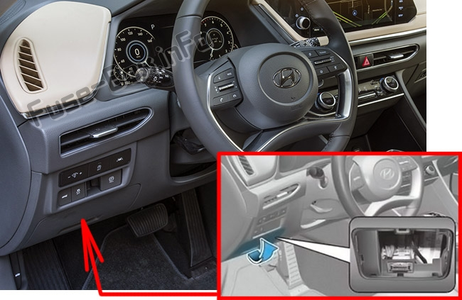 The location of the fuses in the passenger compartment: Hyundai Sonata (2020)