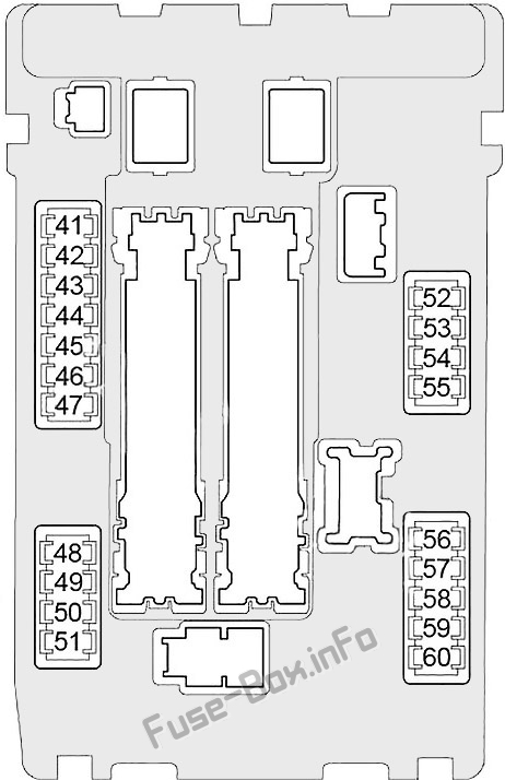 Under-hood fuse box #1 diagram: Infiniti EX35/EX37 (2007, 2008, 2009, 2010, 2011, 2012, 2013)