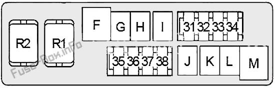 Under-hood fuse box #2 diagram: Infiniti EX35/EX37 (2007, 2008, 2009, 2010, 2011, 2012, 2013)