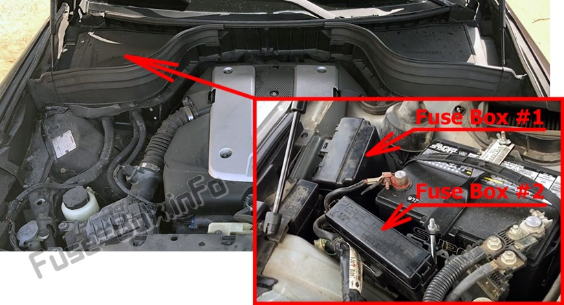 The location of the fuses in the engine compartment: Infiniti EX35/EX37 (2007-2013)