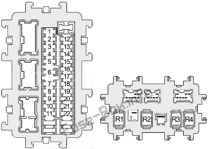 Interior fuse box diagram: Infiniti EX35/EX37 (2007, 2008, 2009, 2010, 2011, 2012, 2013)