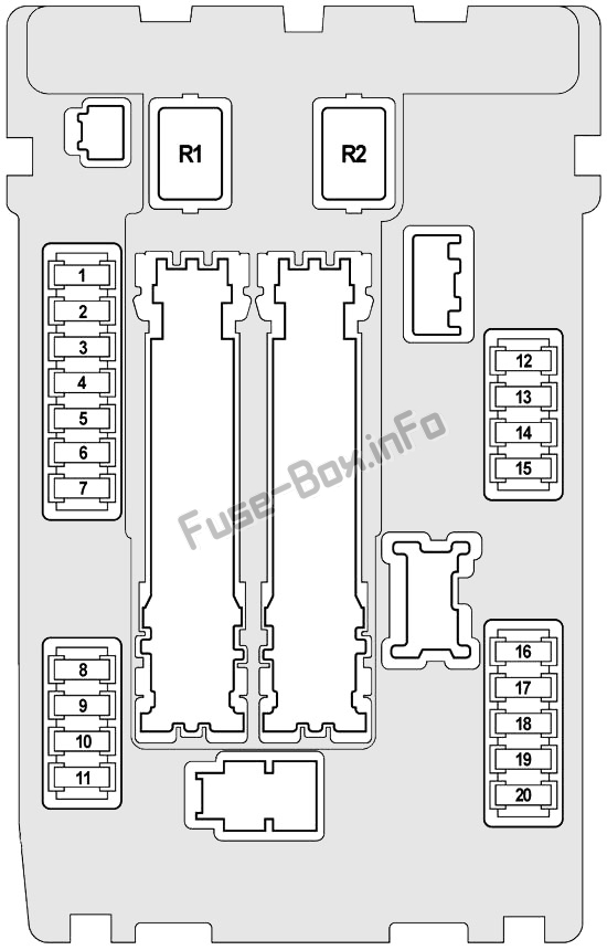 Under-hood fuse box #1 diagram: Infiniti FX35, FX50, QX70 (2008, 2009, 2010, 2011, 2012, 2013, 2014, 2015, 2016, 2017)