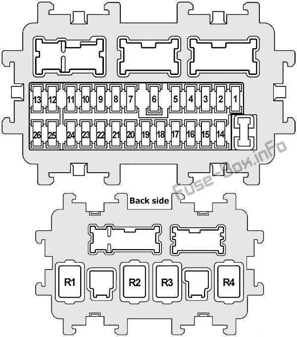Instrument panel fuse box diagram: Infiniti FX35, FX50, QX70 (2008, 2009, 2010, 2011, 2012, 2013, 2014, 2015, 2016, 2017)