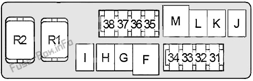Under-hood fuse box #2 diagram: Infiniti FX35/FX45 (2003, 2004, 2005, 2006, 2007, 2008)