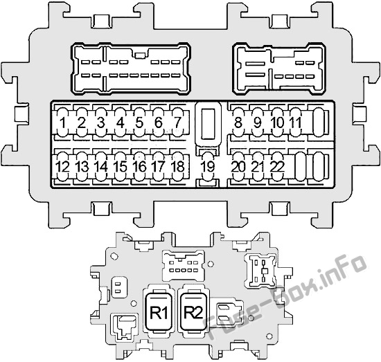 Instrument panel fuse box diagram: Infiniti FX35/FX45 (2003, 2004, 2005, 2006, 2007, 2008)