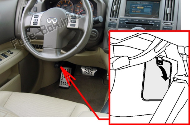 The location of the fuses in the passenger compartment: Infiniti FX35/FX45 (2003-2008)