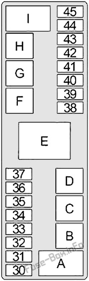 Under-hood fuse box diagram: Infiniti G20 (1998, 1999, 2000, 2001, 2002)