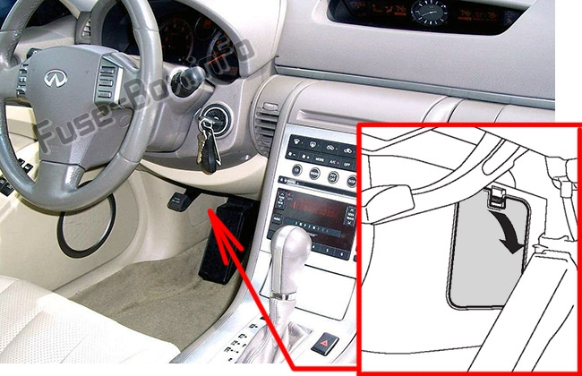 The location of the fuses in the passenger compartment: Infiniti G35 (2002-2007)