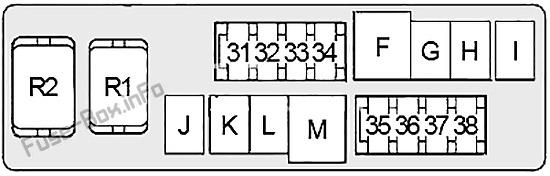 Under-hood fuse box #2 diagram: Infiniti M35, M45 (2006, 2007, 2008, 2009, 2010)