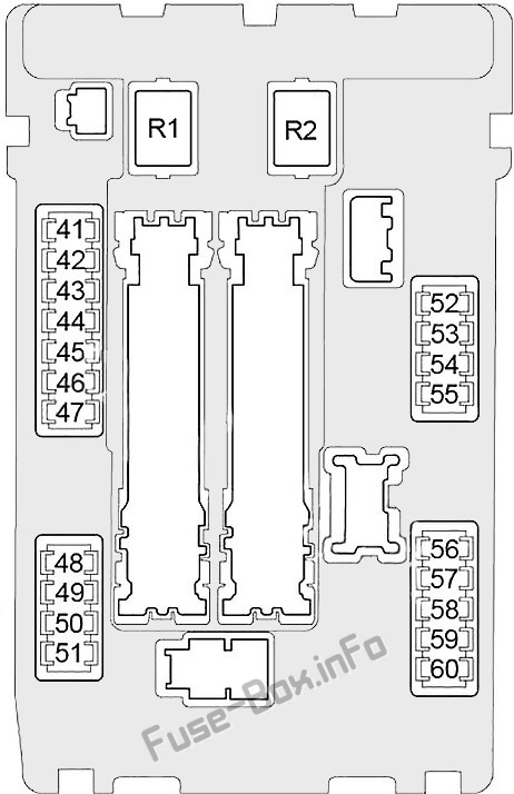 Under-hood fuse box #1 diagram: Infiniti M37, M56 (2010, 2011, 2012)