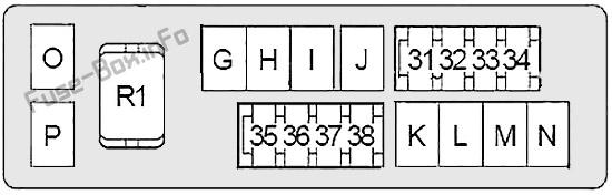 Under-hood fuse box #2 diagram: Infiniti M37, M56 (2010, 2011, 2012)