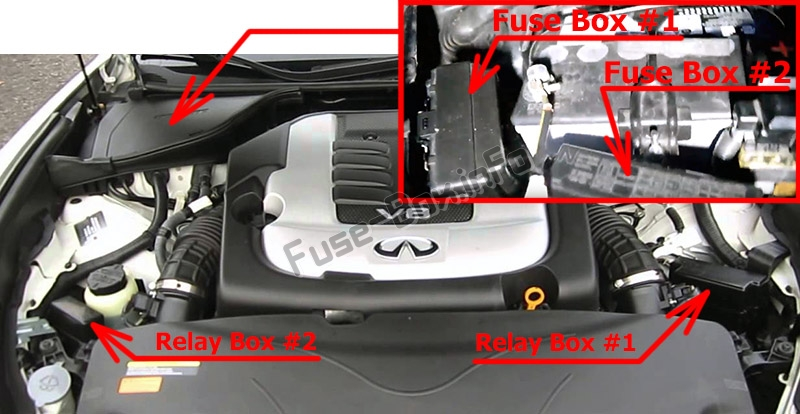 The location of the fuses in the engine compartment: Infiniti M37, M56 (2010-2012)