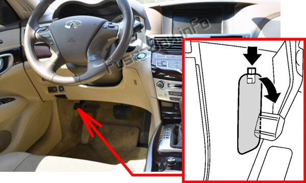The location of the fuses in the passenger compartment: Infiniti M37, M56 (2010, 2011, 2012)