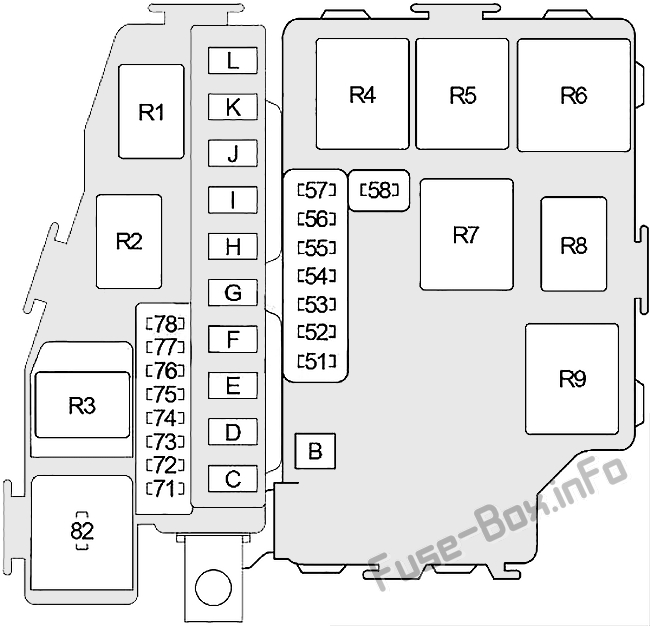 Under-hood fuse box diagram: Infiniti M45 (2003-2004)