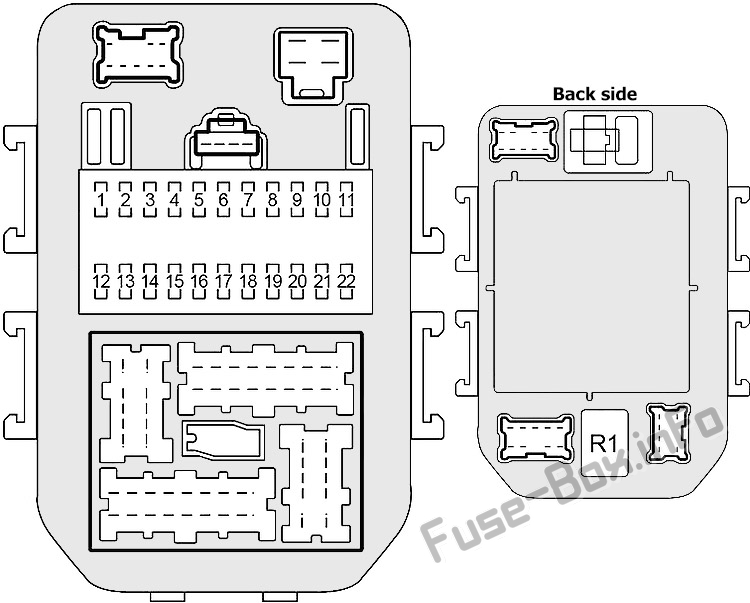 Interior fuse box diagram (left): Infiniti M45 (2003-2004)
