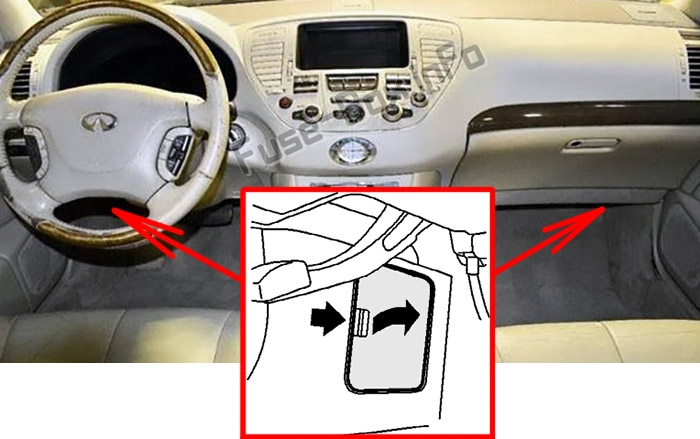 The location of the fuses in the passenger compartment: Infiniti Q45 (2001-2006)
