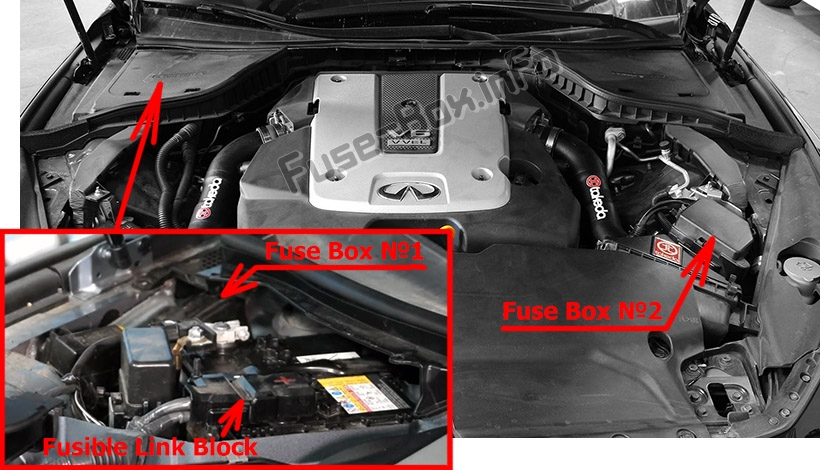The location of the fuses in the engine compartment: Infiniti Q50 (2013-2015)