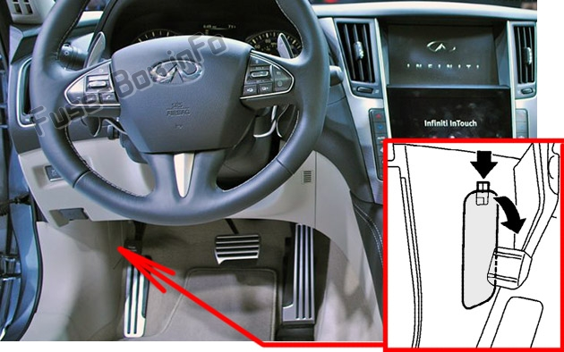 The location of the fuses in the passenger compartment: Infiniti Q50 (2013-2015)