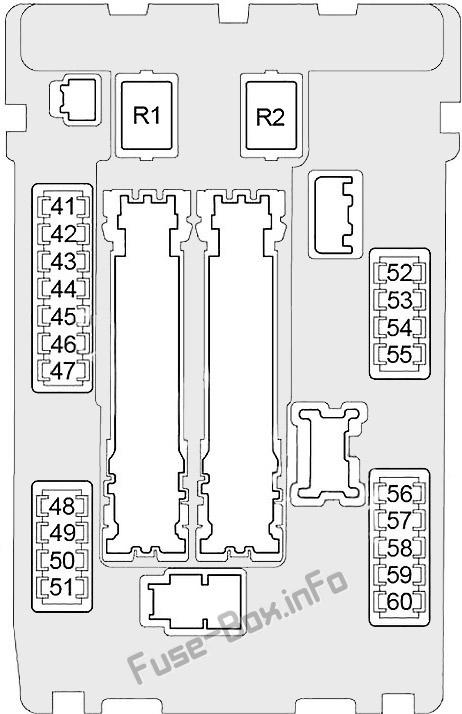 Under-hood fuse box #1 diagram: Infiniti Q70 (2013, 2014, 2015, 2016, 2017, 2018, 2019)