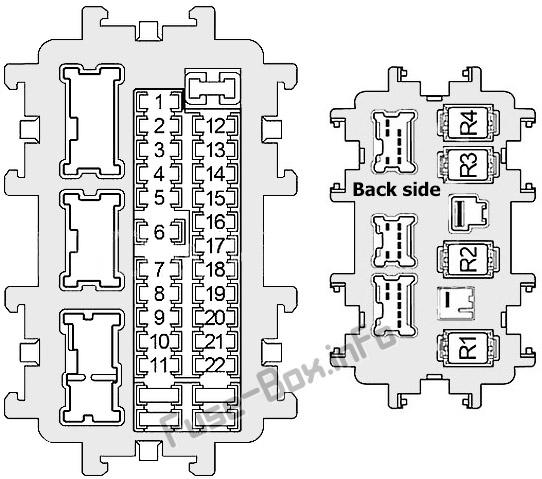 Instrument panel fuse box diagram: Infiniti Q70 (2013, 2014, 2015, 2016, 2017, 2018, 2019)