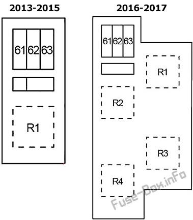 Under-hood fuse box #3 diagram: Infiniti QX50 (2013, 2014, 2015, 2016, 2017)