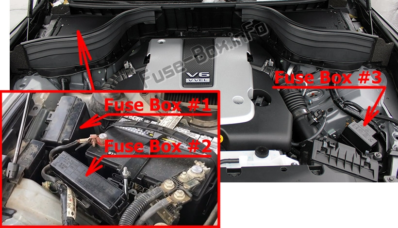 The location of the fuses in the engine compartment: Infiniti QX50 (2013-2017)