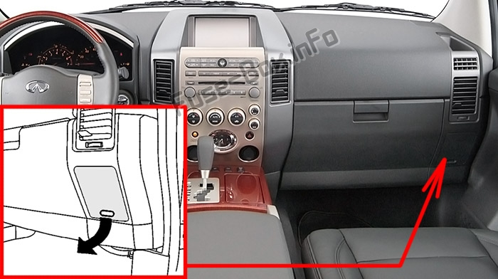 The location of the fuses in the passenger compartment: Infiniti QX56 (2004-2007)