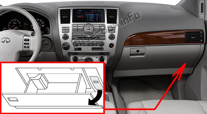 The location of the fuses in the passenger compartment: Infiniti QX56 (2008-2010)