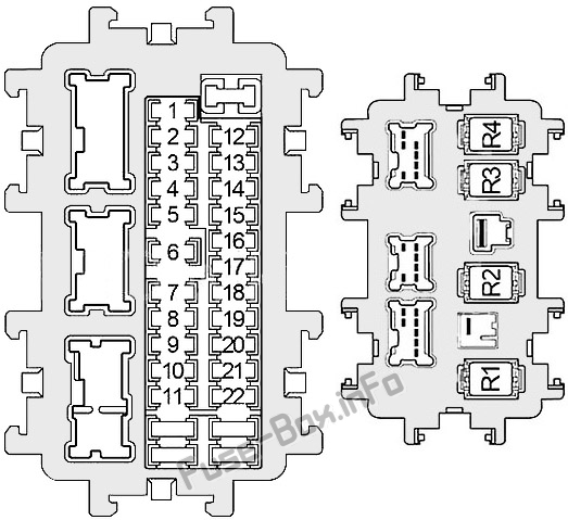 Instrument panel fuse box diagram: Infiniti QX56 / QX80 (2010, 2011, 2012, 2013, 2014, 2015, 2016, 2017)