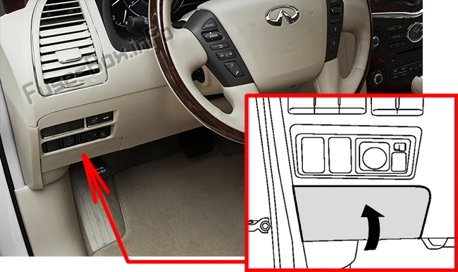 The location of the fuses in the passenger compartment: Infiniti QX56 / QX80 (2010-2017)