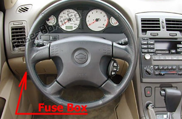 The location of the fuses in the passenger compartment: Nissan Maxima (1999-2003)