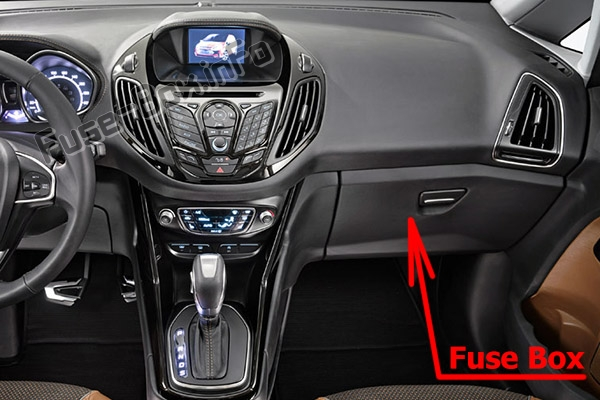 The location of the fuses in the passenger compartment: Ford B-MAX (2012-2017)