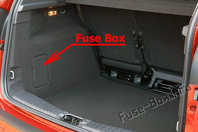 The location of the fuses in the trunk: Ford C-MAX (2011-2014)