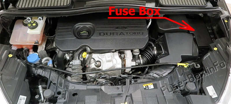 The location of the fuses in the engine compartment: Ford C-MAX (2015-2019)
