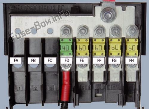 Under-hood fuse box diagram: Ford Fiesta (2002, 2003, 2004, 2005, 2006, 2007, 2008)