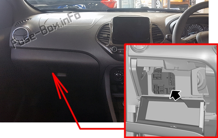 The location of the fuses in the passenger compartment: Ford KA+ (2018-2020)